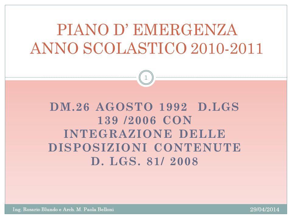 PIANO D' EMERGENZA ANNO SCOLASTICO 2010-2011
