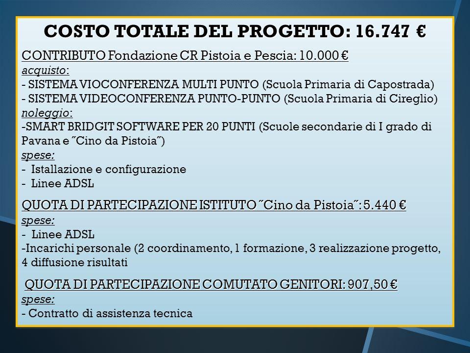 COSTO TOTALE DEL PROGETTO: 16.747 €