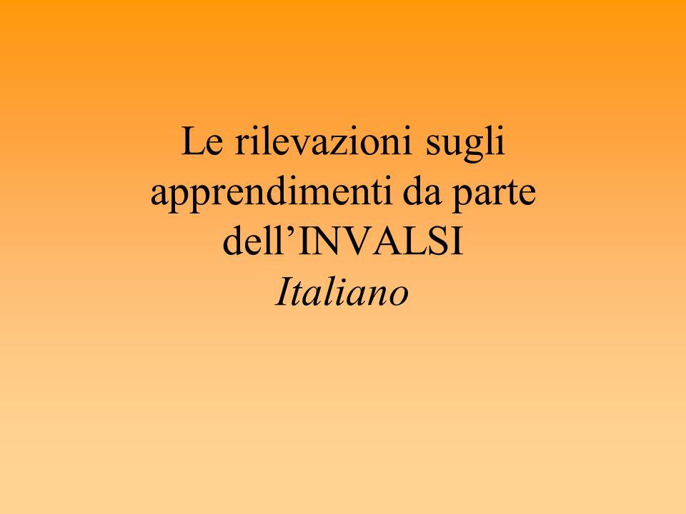 Le rilevazioni sugli apprendimenti da parte dell'INVALSI Italiano