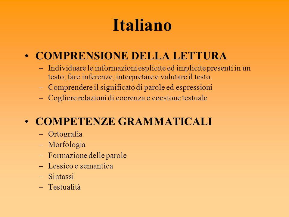 Italiano COMPRENSIONE DELLA LETTURA COMPETENZE GRAMMATICALI