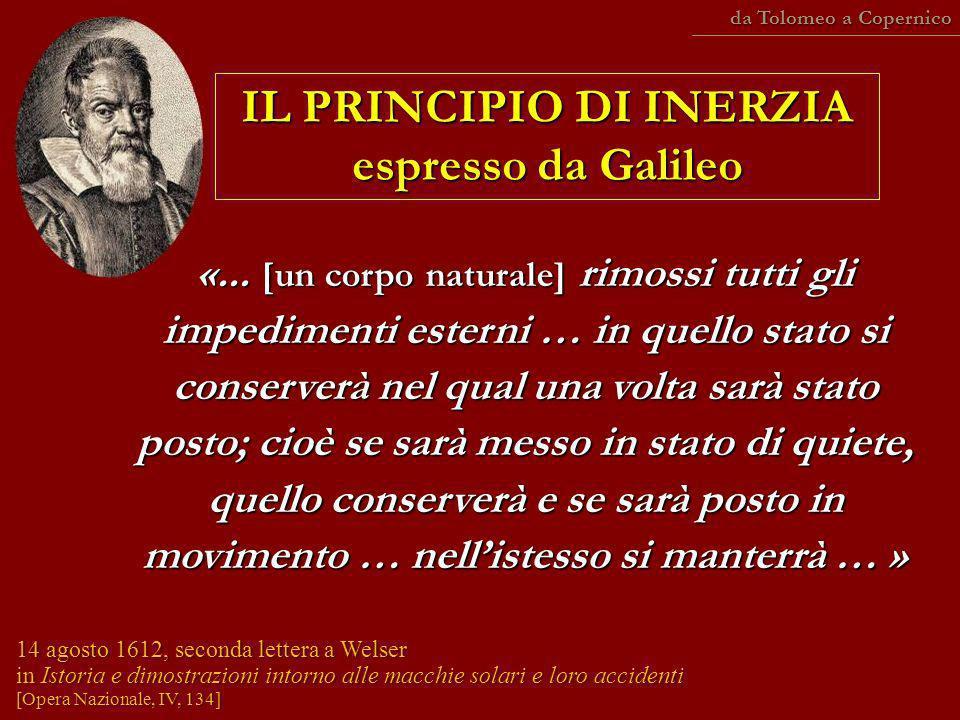 IL PRINCIPIO DI INERZIA espresso da Galileo