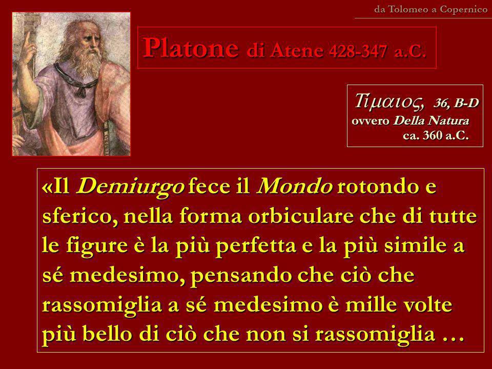 da Tolomeo a Copernico Platone di Atene 428-347 a.C. Tímaio, 36, B-D ovvero Della Natura ca. 360 a.C.