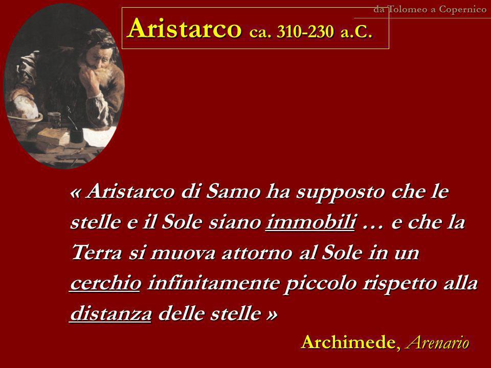 da Tolomeo a Copernico Aristarco ca. 310-230 a.C.
