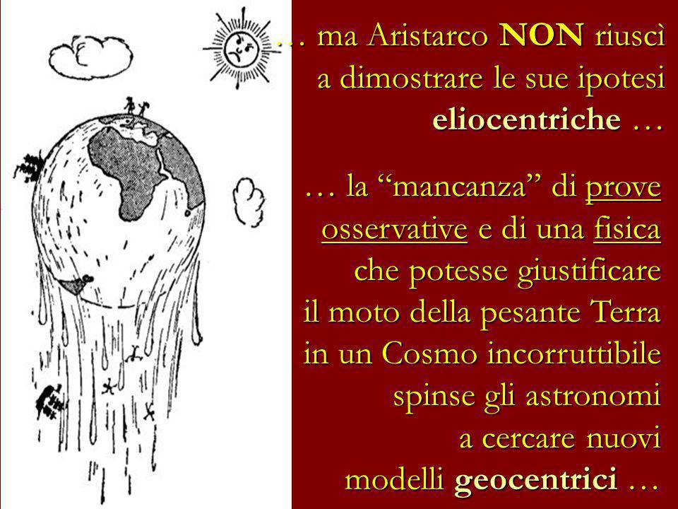 … ma Aristarco NON riuscì a dimostrare le sue ipotesi eliocentriche …