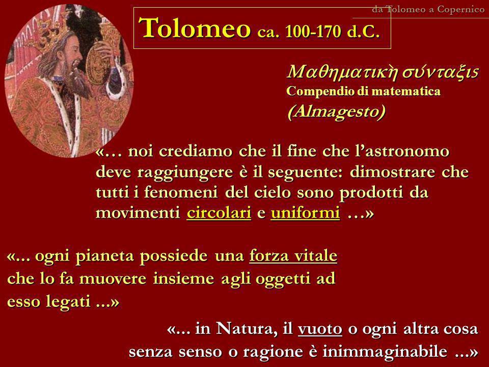 da Tolomeo a Copernico Tolomeo ca. 100-170 d.C. Maqhmatikh suntaxis Compendio di matematica (Almagesto)