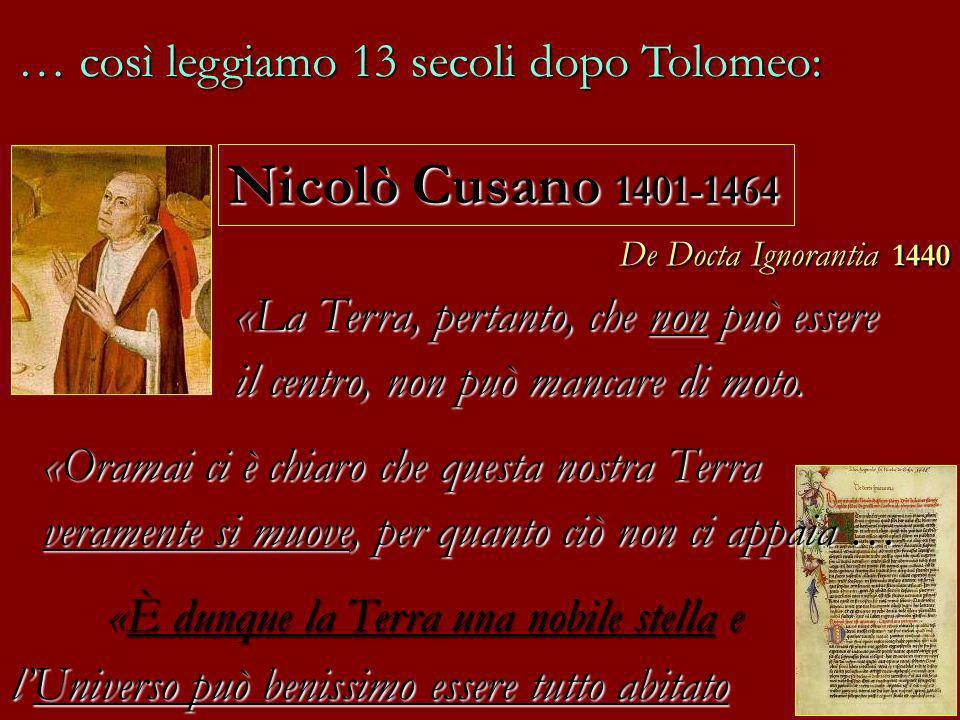Nicolò Cusano 1401-1464 … così leggiamo 13 secoli dopo Tolomeo: