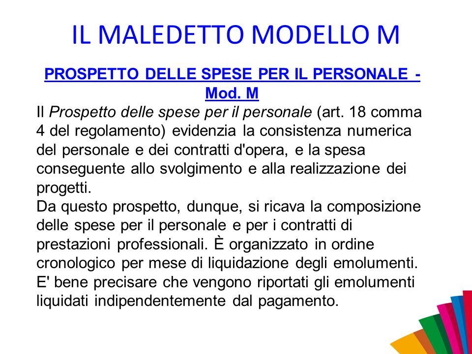 PROSPETTO DELLE SPESE PER IL PERSONALE - Mod. M