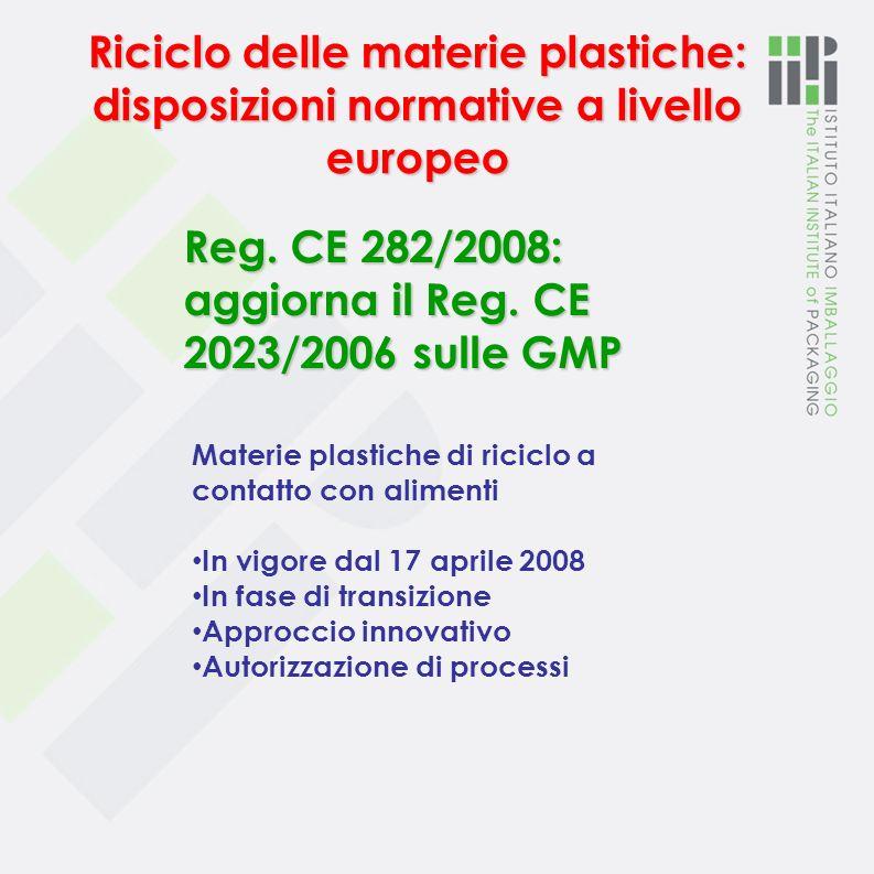 Reg. CE 282/2008: aggiorna il Reg. CE 2023/2006 sulle GMP