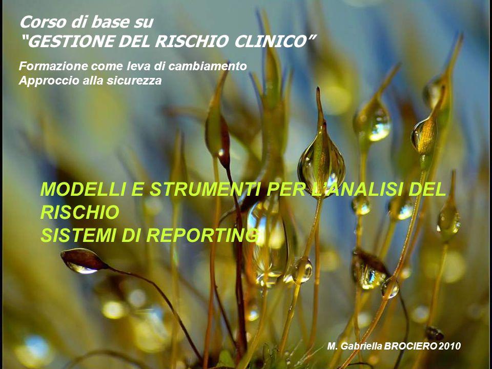 MODELLI E STRUMENTI PER L'ANALISI DEL RISCHIO SISTEMI DI REPORTING
