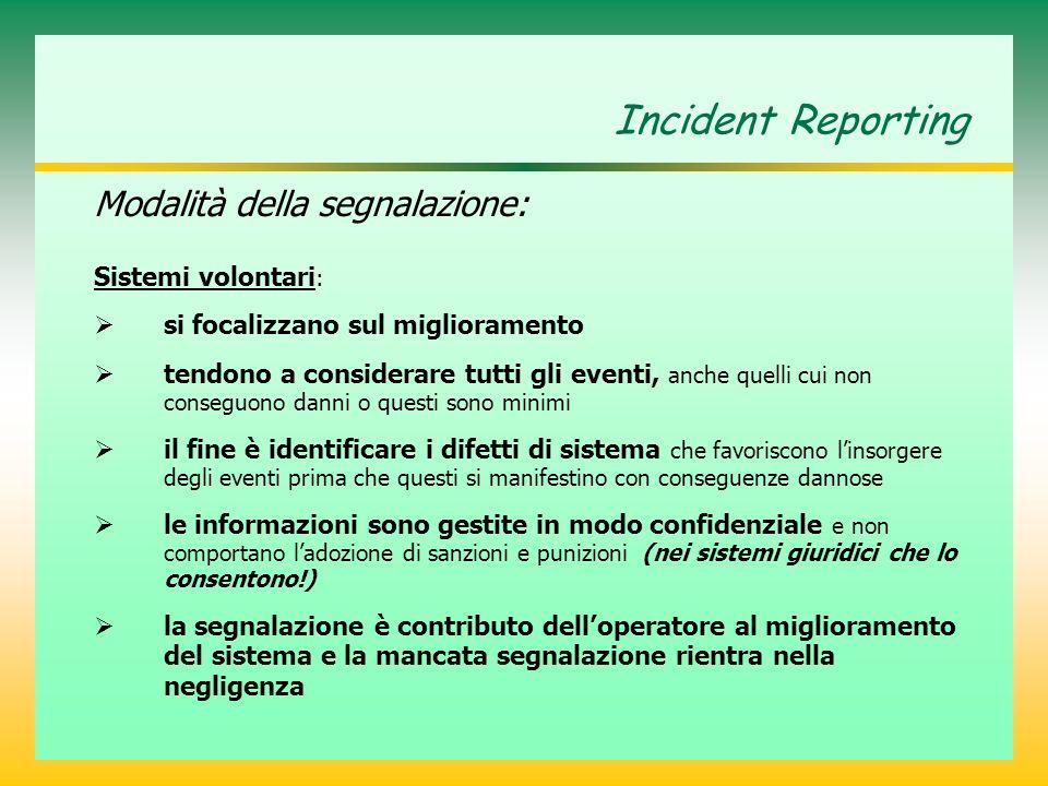 Incident Reporting Modalità della segnalazione: Sistemi volontari: