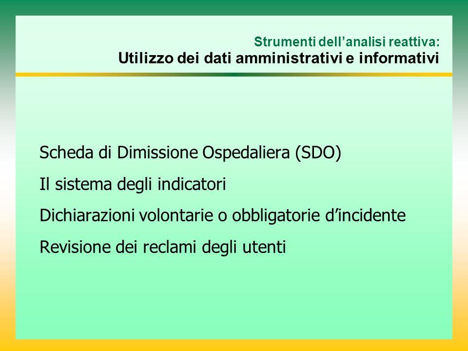 Scheda di Dimissione Ospedaliera (SDO) Il sistema degli indicatori