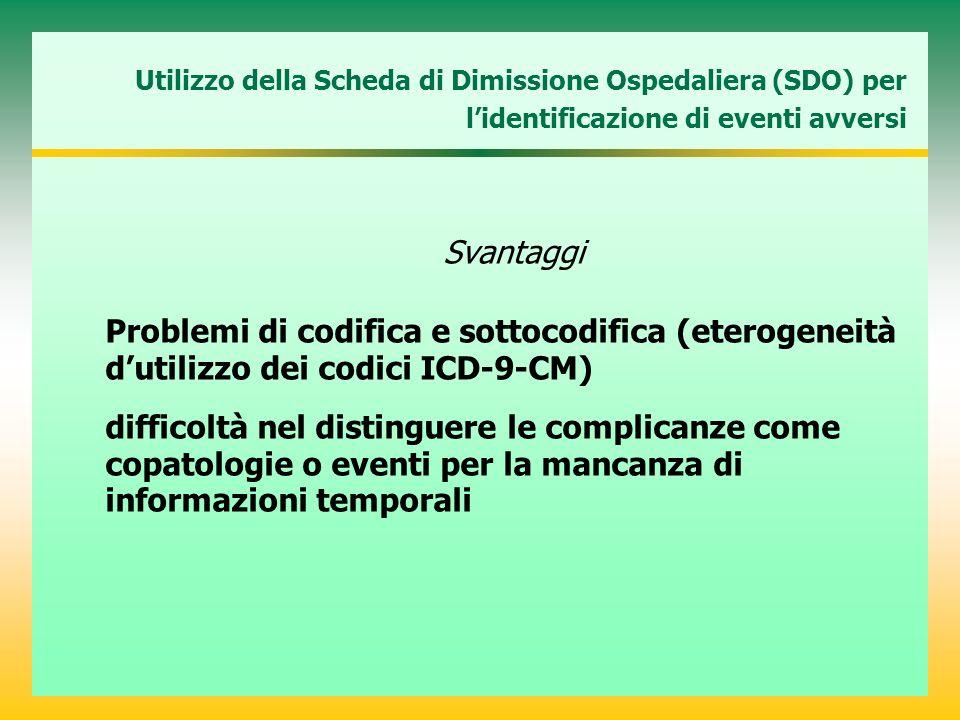 Utilizzo della Scheda di Dimissione Ospedaliera (SDO) per l'identificazione di eventi avversi