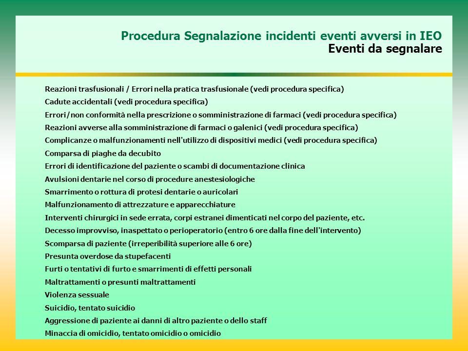 Procedura Segnalazione incidenti eventi avversi in IEO Eventi da segnalare