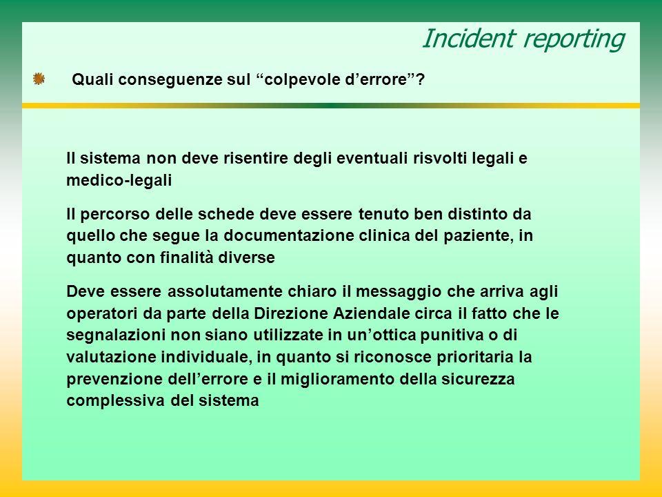 Incident reporting Quali conseguenze sul colpevole d'errore