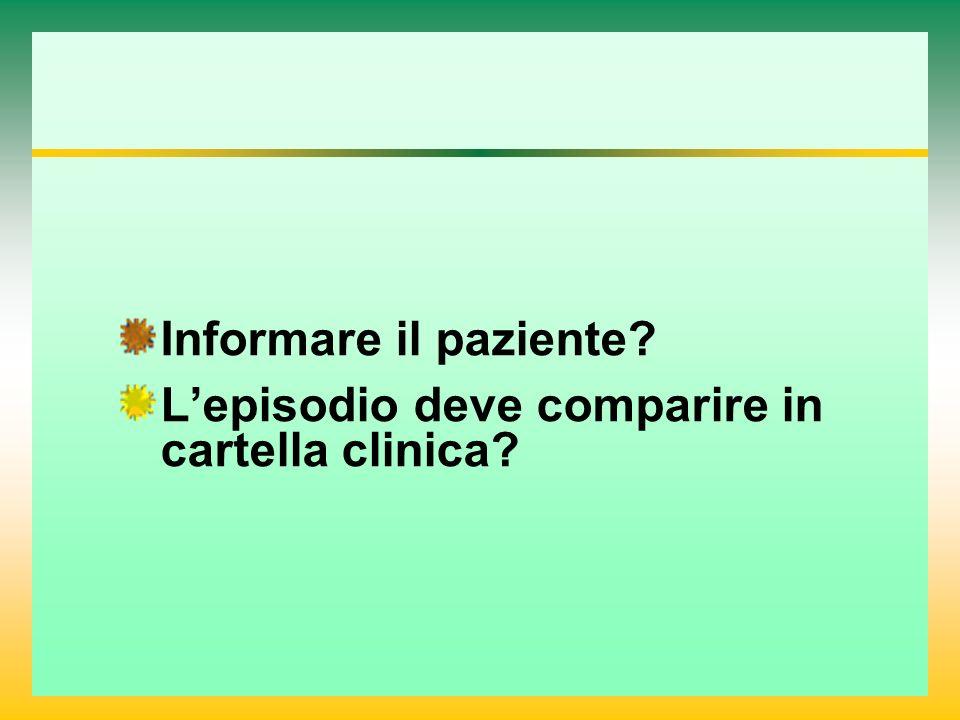 Informare il paziente L'episodio deve comparire in cartella clinica