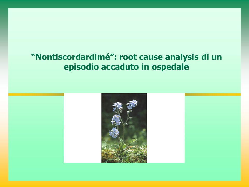 Nontiscordardimé : root cause analysis di un episodio accaduto in ospedale