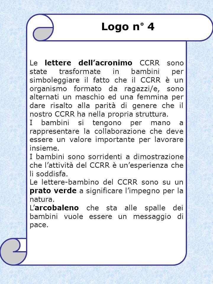 Le lettere dell'acronimo CCRR sono state trasformate in bambini per simboleggiare il fatto che il CCRR è un organismo formato da ragazzi/e, sono alternati un maschio ed una femmina per dare risalto alla parità di genere che il nostro CCRR ha nella propria struttura.