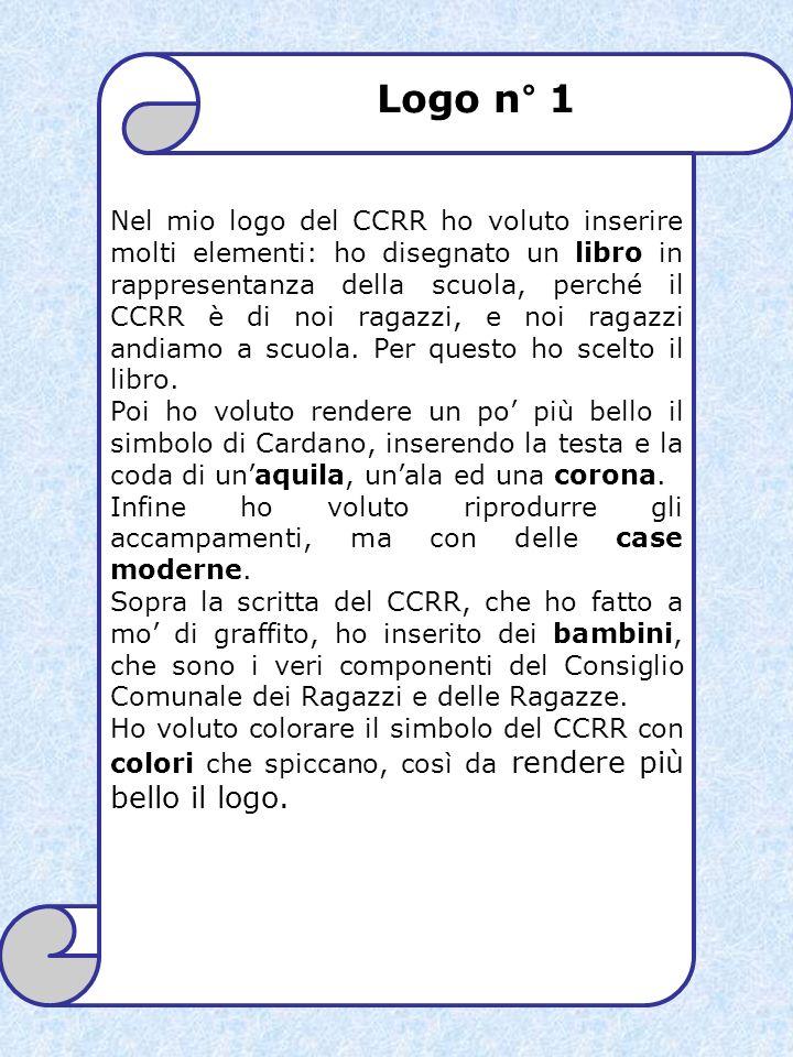 Nel mio logo del CCRR ho voluto inserire molti elementi: ho disegnato un libro in rappresentanza della scuola, perché il CCRR è di noi ragazzi, e noi ragazzi andiamo a scuola. Per questo ho scelto il libro.