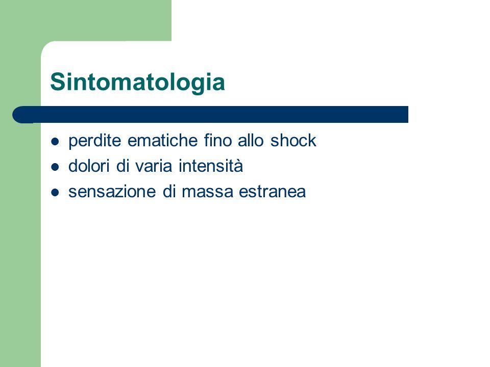 Sintomatologia perdite ematiche fino allo shock