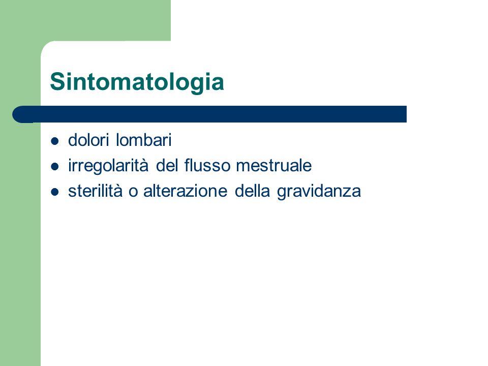 Sintomatologia dolori lombari irregolarità del flusso mestruale