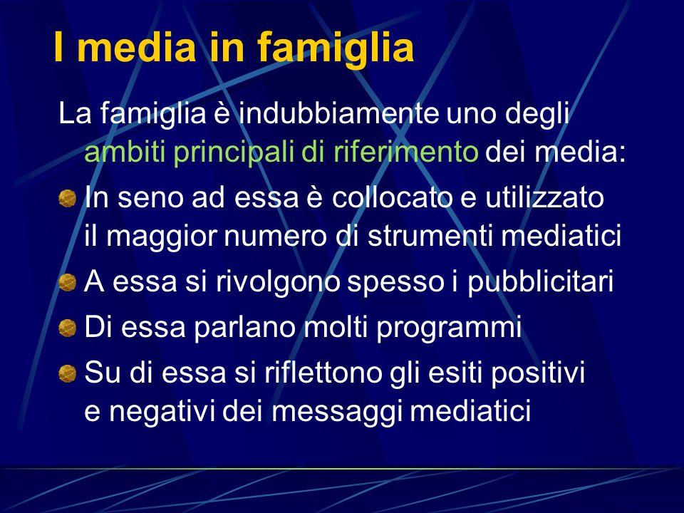 I media in famiglia La famiglia è indubbiamente uno degli ambiti principali di riferimento dei media: