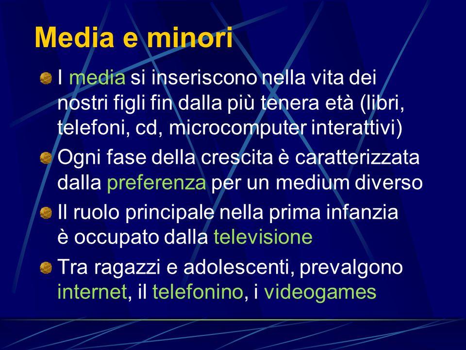Media e minori I media si inseriscono nella vita dei nostri figli fin dalla più tenera età (libri, telefoni, cd, microcomputer interattivi)