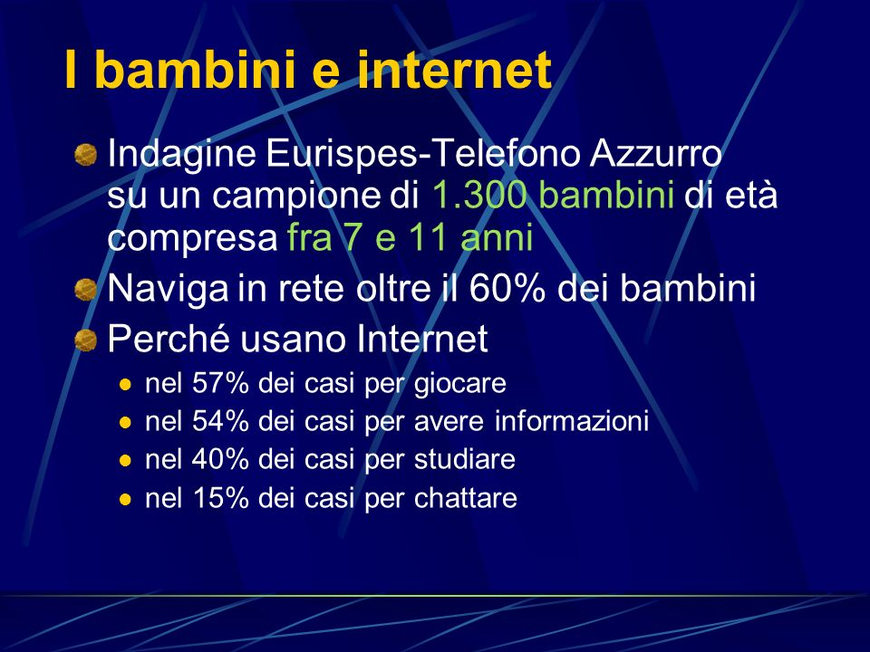 I bambini e internet Indagine Eurispes-Telefono Azzurro su un campione di 1.300 bambini di età compresa fra 7 e 11 anni.