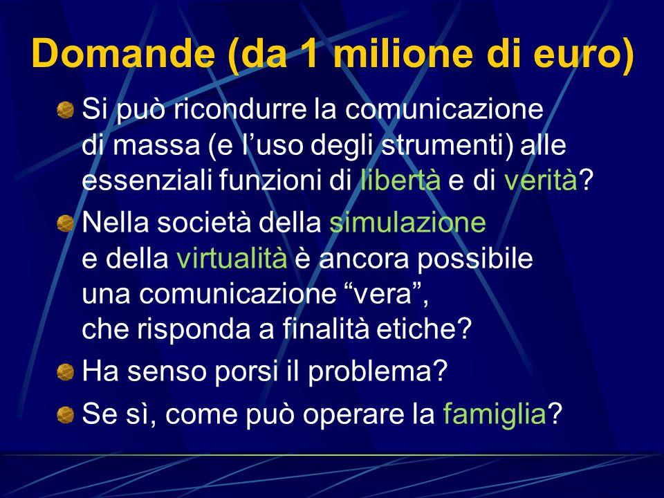 Domande (da 1 milione di euro)