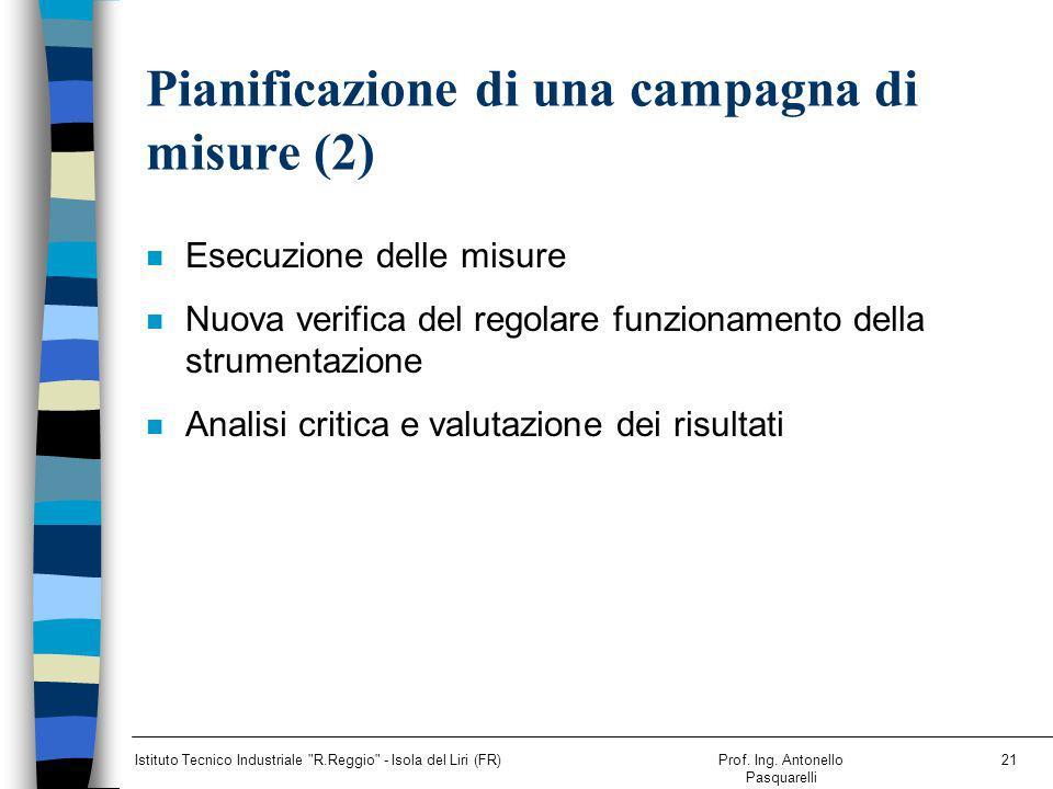 Pianificazione di una campagna di misure (2)
