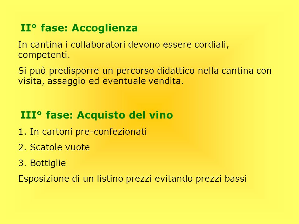 III° fase: Acquisto del vino