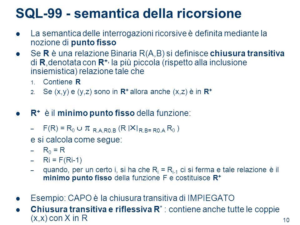 SQL-99 - semantica della ricorsione