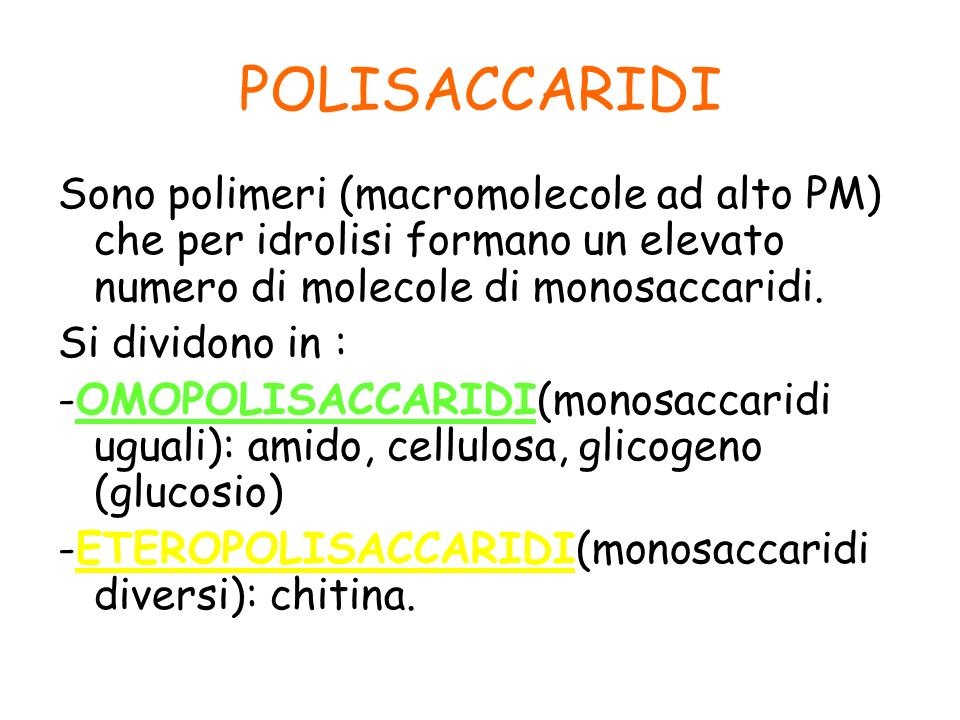 POLISACCARIDI Sono polimeri (macromolecole ad alto PM) che per idrolisi formano un elevato numero di molecole di monosaccaridi.