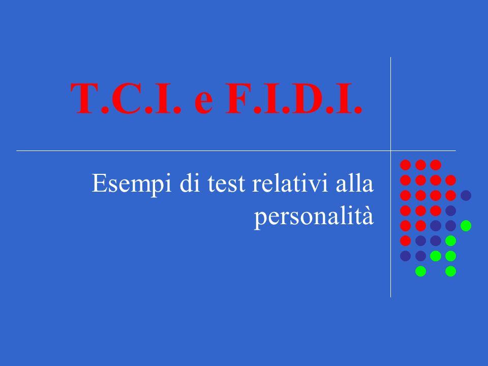 Esempi di test relativi alla personalità