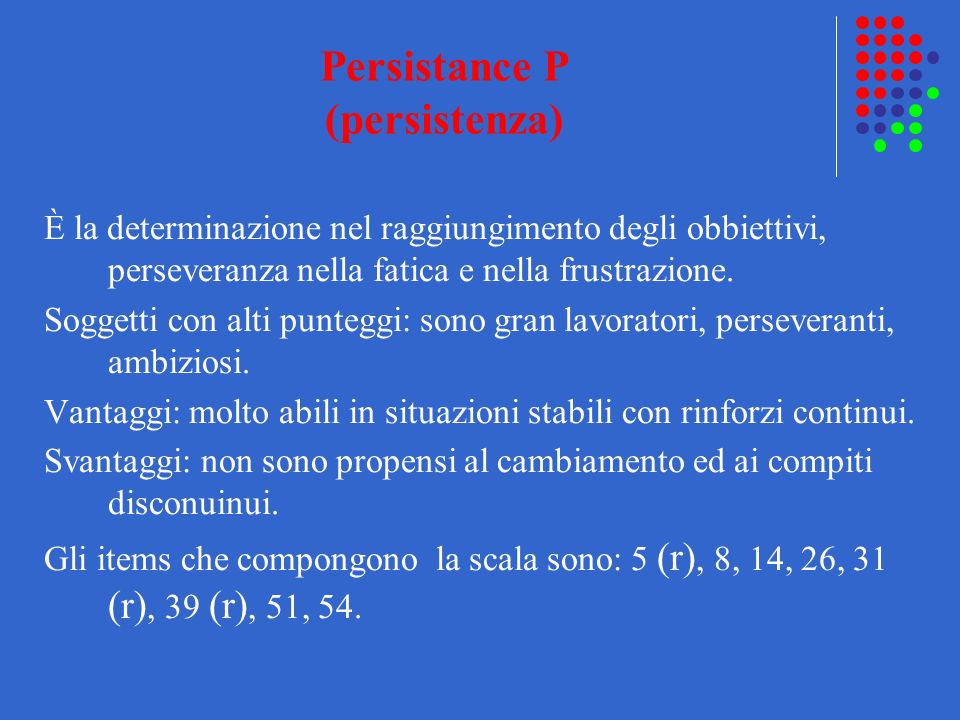 Persistance P (persistenza)