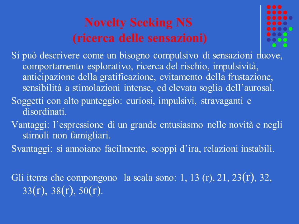 Novelty Seeking NS (ricerca delle sensazioni)