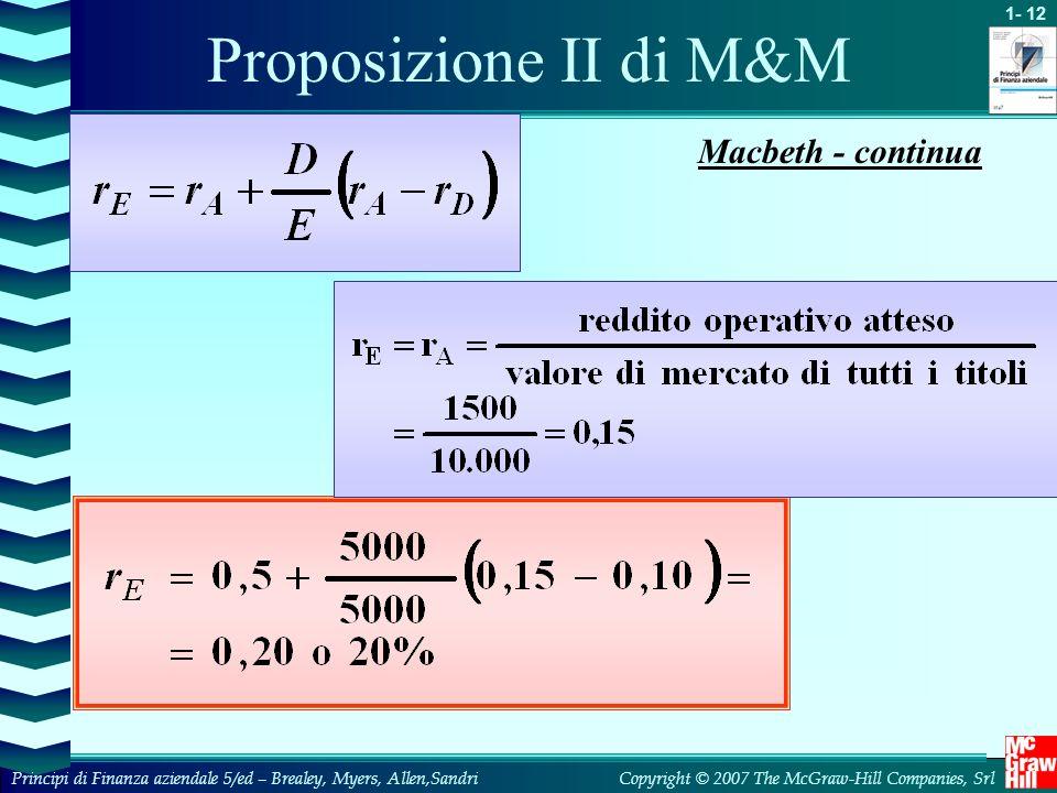 Proposizione II di M&M Macbeth - continua