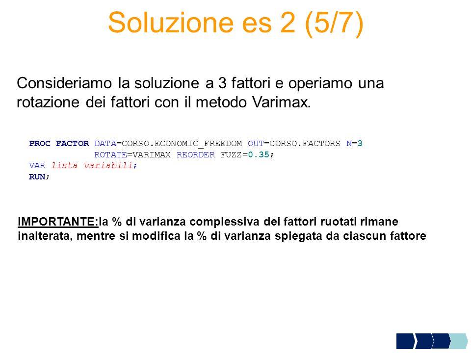 Soluzione es 2 (5/7) Consideriamo la soluzione a 3 fattori e operiamo una rotazione dei fattori con il metodo Varimax.