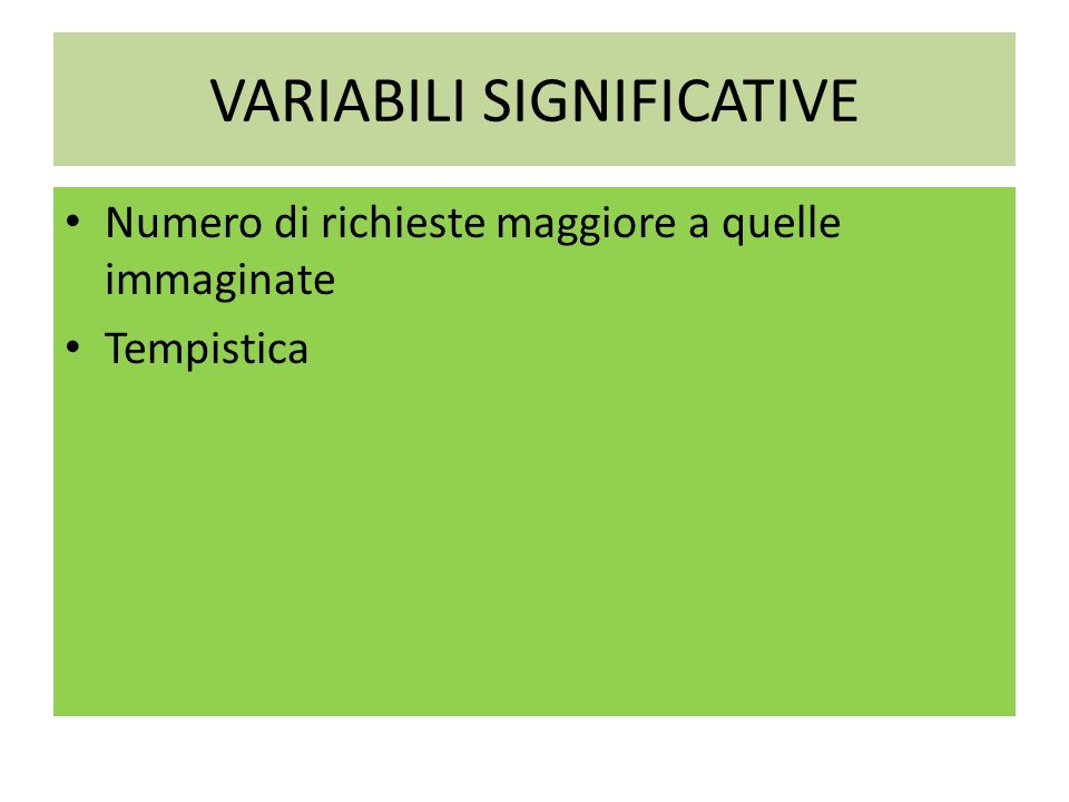 VARIABILI SIGNIFICATIVE