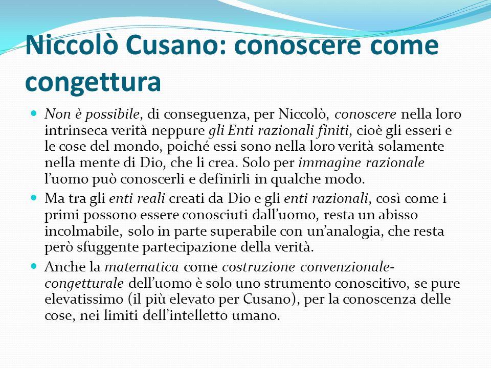 Niccolò Cusano: conoscere come congettura