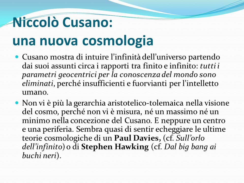 Niccolò Cusano: una nuova cosmologia