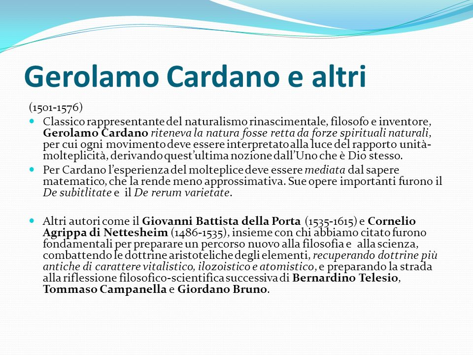Gerolamo Cardano e altri