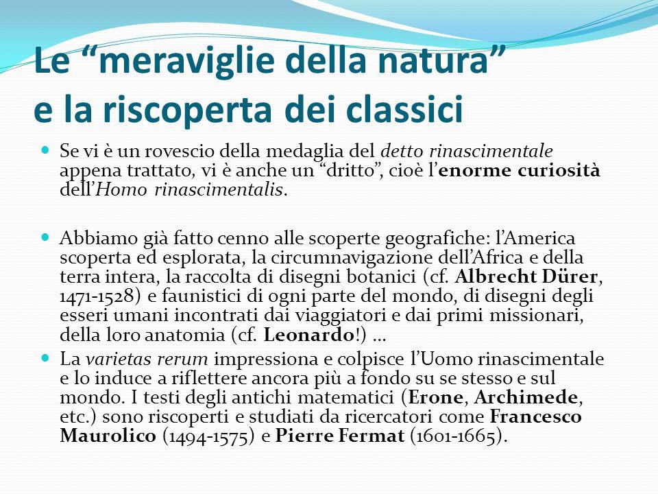 Le meraviglie della natura e la riscoperta dei classici