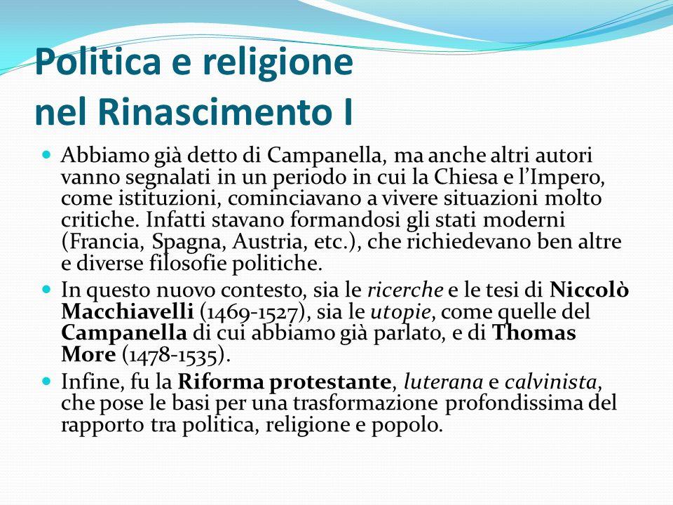 Politica e religione nel Rinascimento I