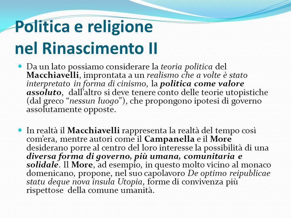 Politica e religione nel Rinascimento II