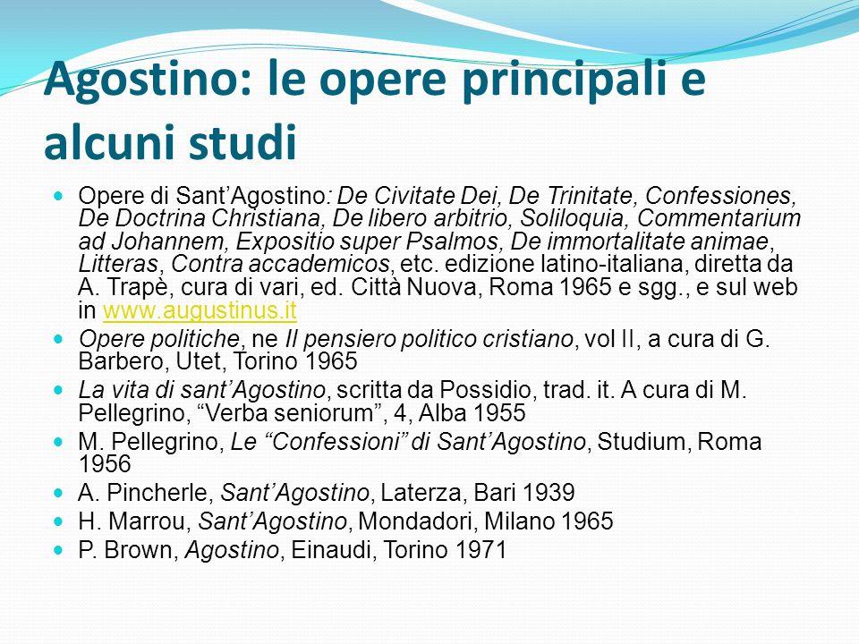 Agostino: le opere principali e alcuni studi