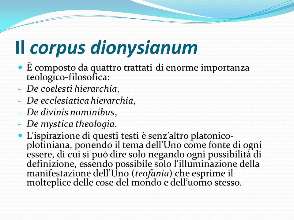 Il corpus dionysianum È composto da quattro trattati di enorme importanza teologico-filosofica: De coelesti hierarchia,