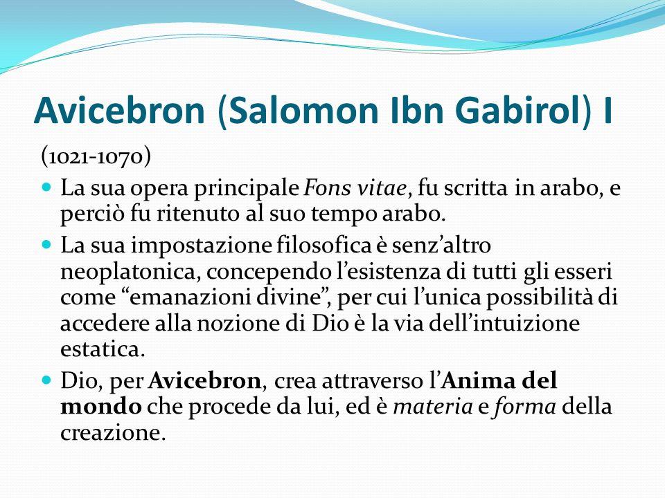 Avicebron (Salomon Ibn Gabirol) I