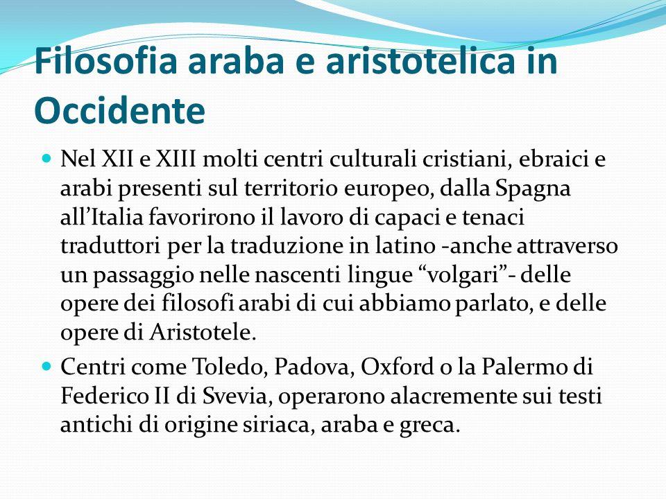 Filosofia araba e aristotelica in Occidente
