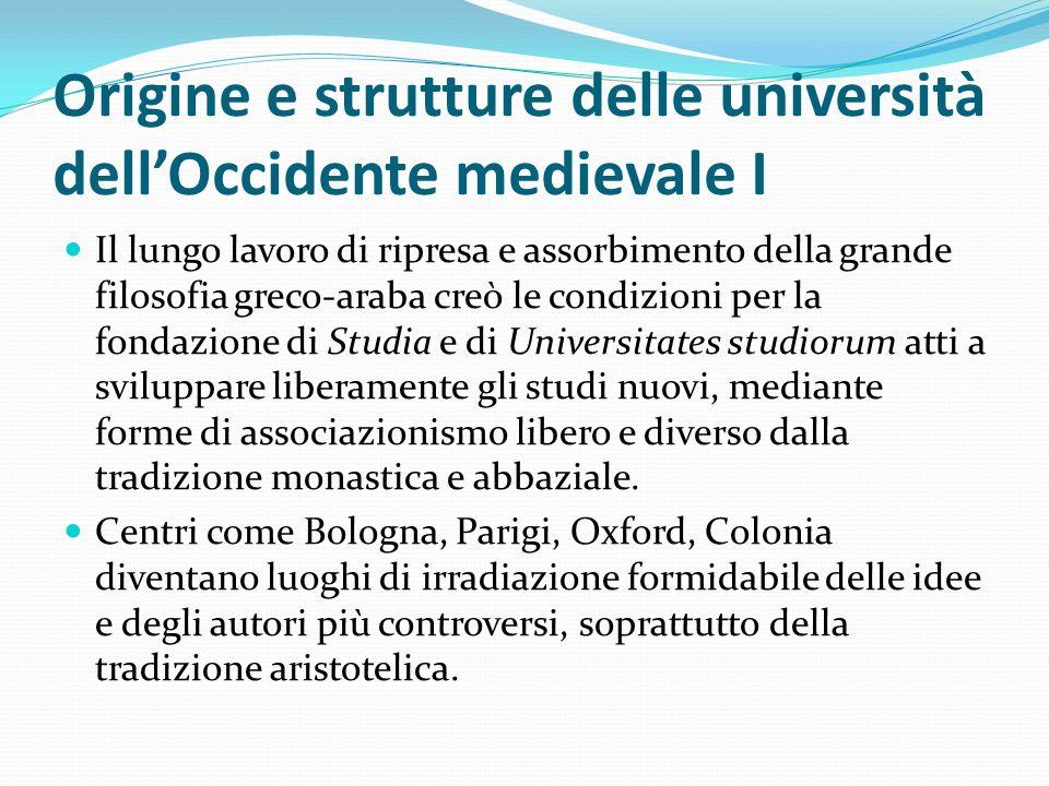 Origine e strutture delle università dell'Occidente medievale I