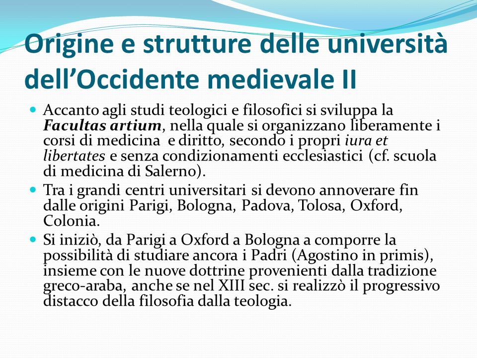 Origine e strutture delle università dell'Occidente medievale II